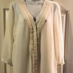 Coldwater Creek 2pc Cream Dress Blouse